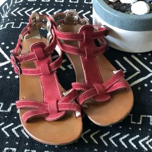 Red suede gladiator sandals